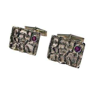1970s Birks Gold and Ruby Cufflinks