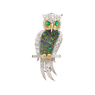 1970s Black Opal and Diamond Owl Brooch