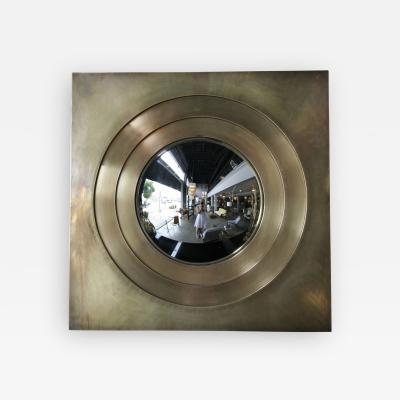 1970s Brass Convex Mirror