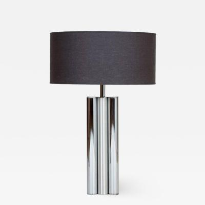 1970s Brushed and Polished Aluminum Table Lamp