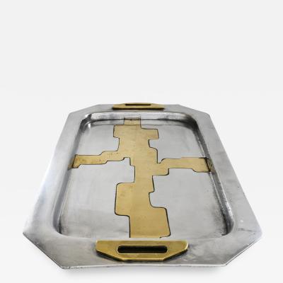 1970s Brutalist aluminium and brass tray by David Marshall