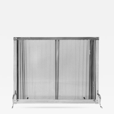 1970s Chromed Fireplace Screen with Metal Curtain