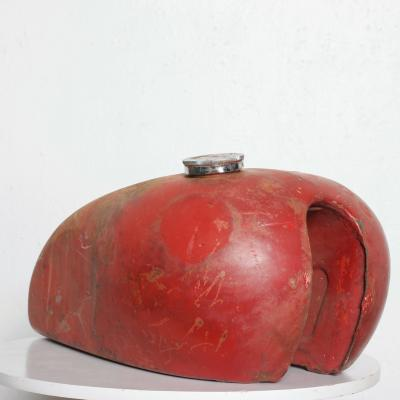 1970s Distressed Vintage RED Motorcycle Gas Tank Collectible Man Cave