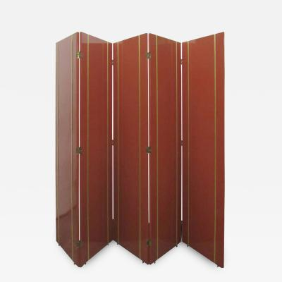1970s Folding Screen in Persimmon Lacquer with Brass Inlay