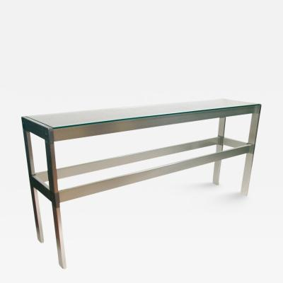 1970s French Glass Shelves and Aluminum Frame Console
