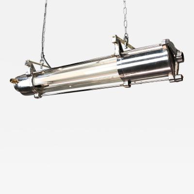 1970s German Industrial Cast Aluminum Glass T8 Flameproof Striplight