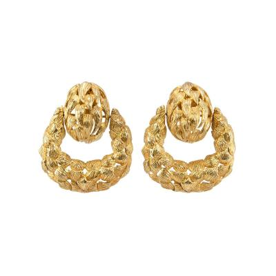 1970s Gold Door Knocker Earrings