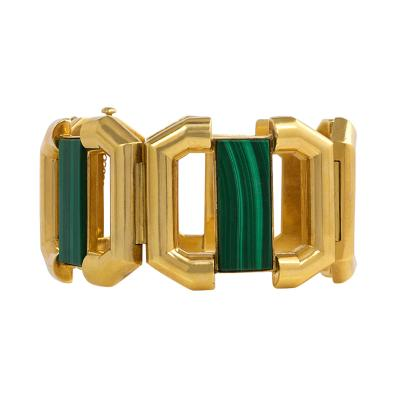 1970s Gold and Malachite Geometric Link Bracelet
