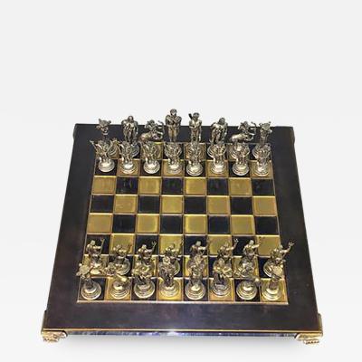 1970s Greek Mythological Two Tone Chess Set