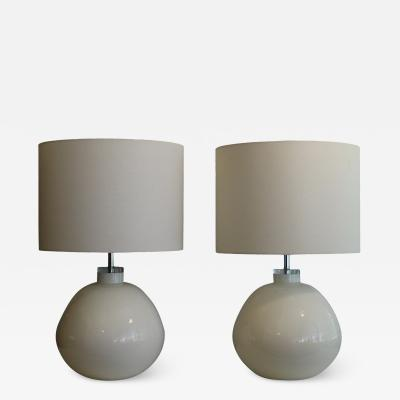 1970s Invert Painted Glass Lamps With Shades a Pair
