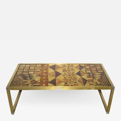 1970s Italian Art Deco Abstract Design Brass Coffee Sofa Table with Gold Leaf