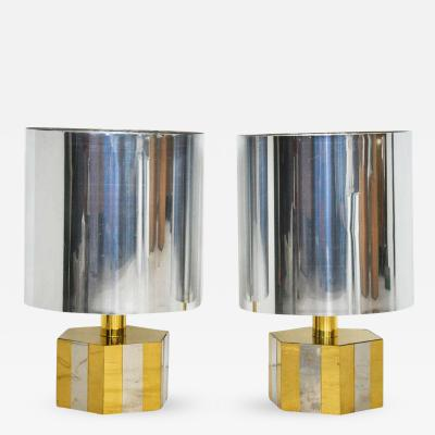 1970s Italian Brass and Chrome Table Lamps