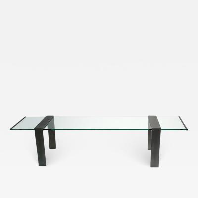 1970s Italian Design Urban Geometric Iron Satin Crystal Clear Long Sofa Table