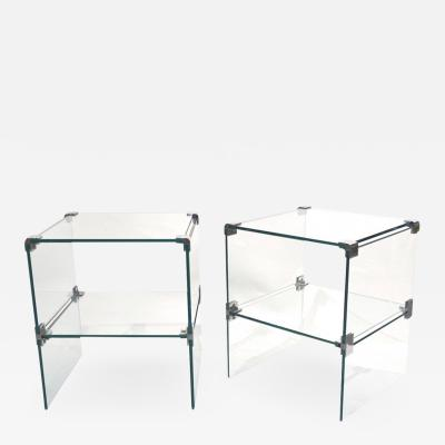 1970s Italian Vintage Pair of Two Tier Nickel Crystal Clear Glass Side Tables