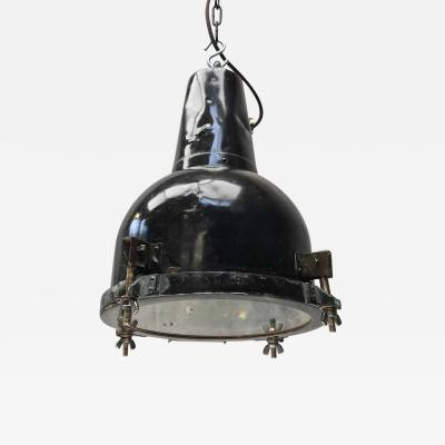 1970s Japanese Brass Marine Searchlight Pendant Tarnished Brown