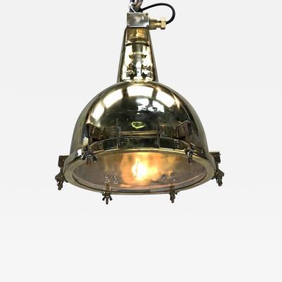 1970s Japanese Brass Pendant Old Marine Search Light