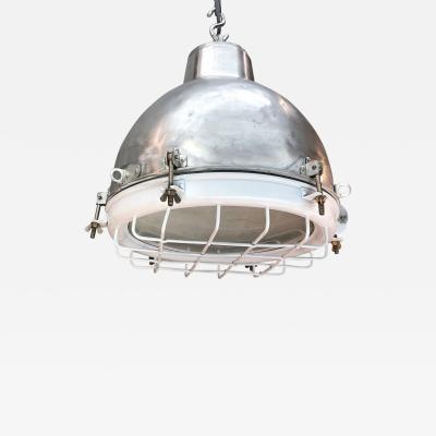 1970s Japanese Retro Industrial Aluminium Dome Pendant White Cage