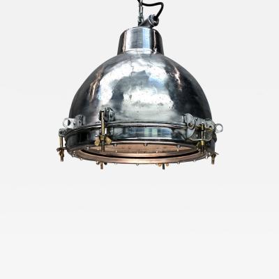 1970s Japanese Vintage Industrial Aluminium Dome Ceiling Pendant Glass Lens