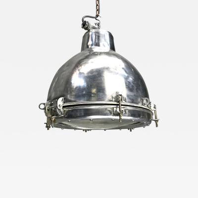 1970s Japanese Vintage Industrial Aluminium Dome Pendant Convex Glass Shade