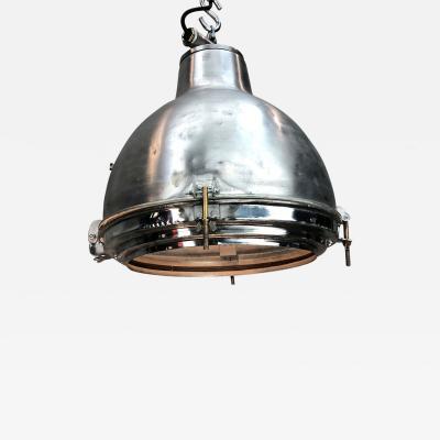 1970s Japanese Vintage Industrial Satin Aluminium Ceiling Pendant Glass Lens