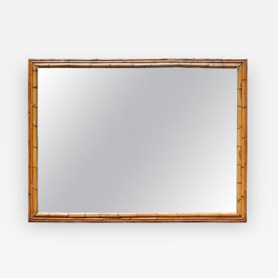 1970s Large Spanish Bamboo Framed Mirror