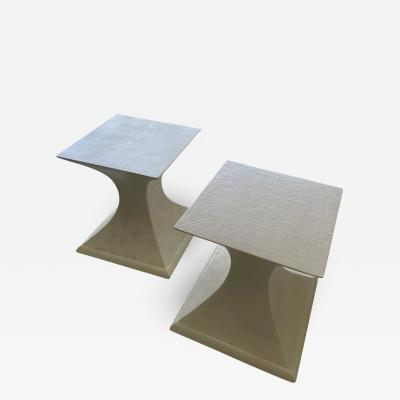 1970s Linen Wrapped Side Tables a Pair