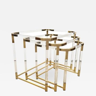 1970s Lucite and Brass Nesting Tables by Charles Hollis Jones Set of 3