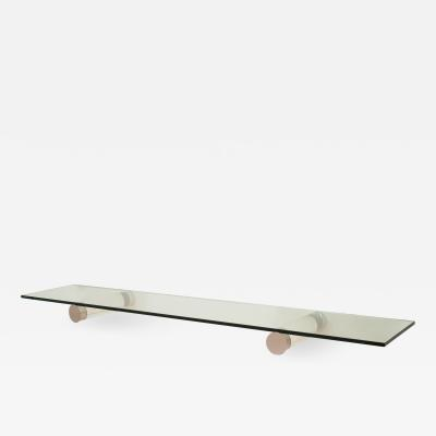 1970s Lucite and Chrome Eight Foot Floating Glass Top Console Shelf