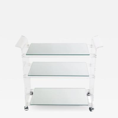 1970s Lucite and Mirror Bar Cart on Casters
