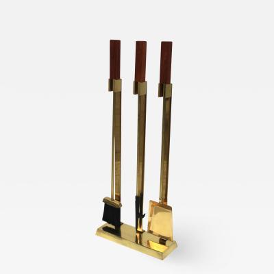 1970s Mid Century Modern Brass With Teak Handles Fireplace Tools