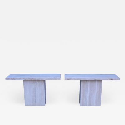 1970s Modern Italian Travertine Consoles