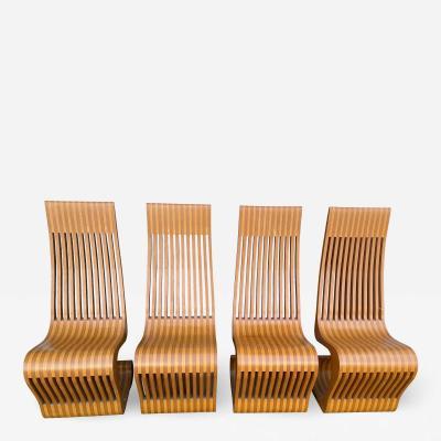 1970s Modern Sculptural Wood Chairs Set of 4