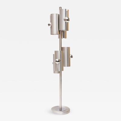 1970s Modernist Brushed Aluminium Floor Lamp in the style of Max Sauze