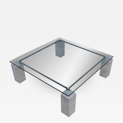 1970s Modernist Travertine Coffee Table With Floating Glass Top