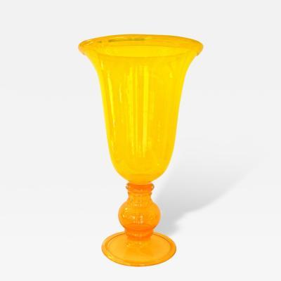 1970s Monumental Art Glass Vase in Yellow and Orange Blown Murano Glass