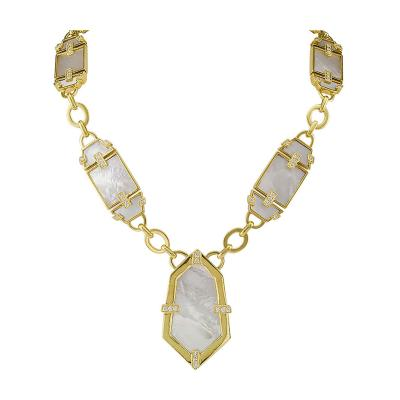 1970s Mother of Pearl Diamond Gold Necklace
