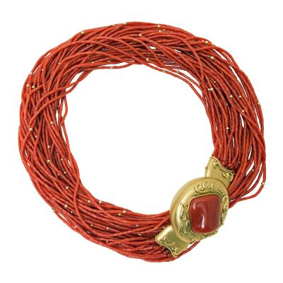 1970s Multi Strand Coral Bead Necklace with Cunky Gold Clasp