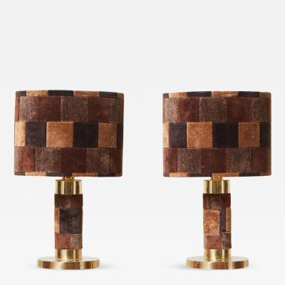 1970s Pair of Hollywood Regency Table Lamps in Brass and Carpet