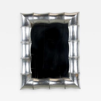 1970s Regency Faux Bamboo Silver Leaf Mirror