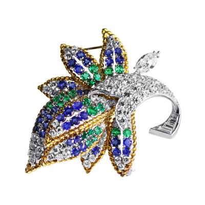 1970s Sapphire Emerald Diamond Platinum Flower Brooch
