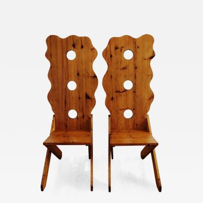 1970s Sculptural High Back Chairs