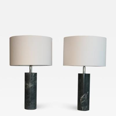 1970s Serpentine Marble Table Lamps With Shades a Pair