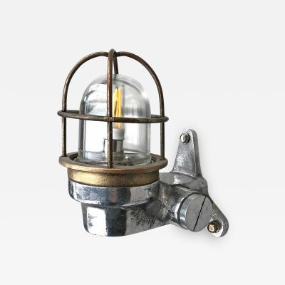 1970s Small Japanese Cast Aluminum 90 Degree Wall Light Glass Dome and Cage