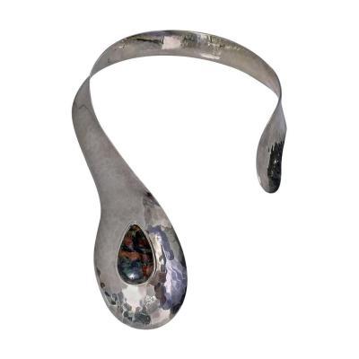 1970s Stunning Scandinavian Sterling Modernist Collar Necklace Denmark