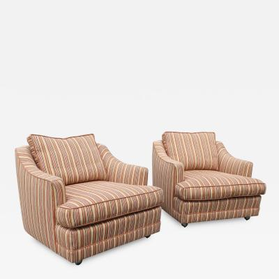 1970s Style Striped Club Chairs a Pair