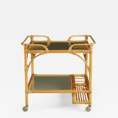 1970s Swedish bamboo and rattan drinks serving trolley