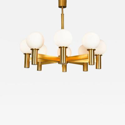1970s Swedish eight arm brass chandelier