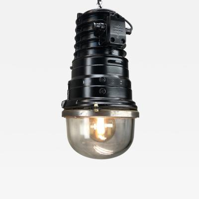 1970s Vintage Industrial Black Explosion Proof Ceiling Pendant by EOW