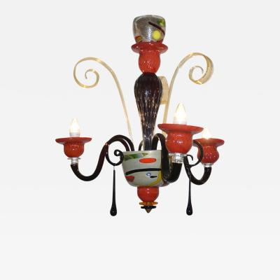 1970s Vintage Italian Design Black Red Gold Modern Murano Glass Chandelier