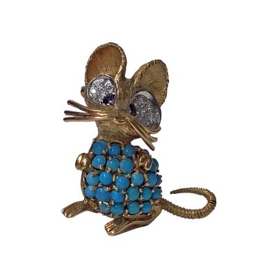 1970s Whimsical Mouse Brooch Pin 18K Diamond Turquoise and Sapphire